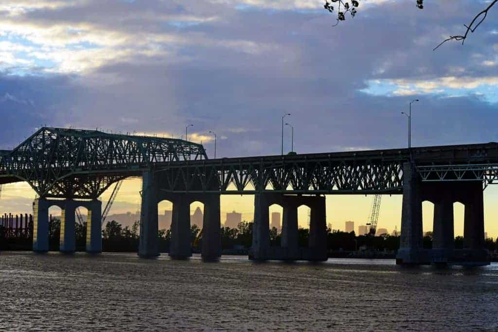 Sunset and the montreal Champlain Bridge
