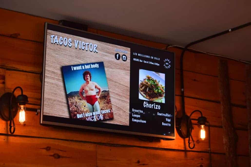 TV displaying content at taco victor